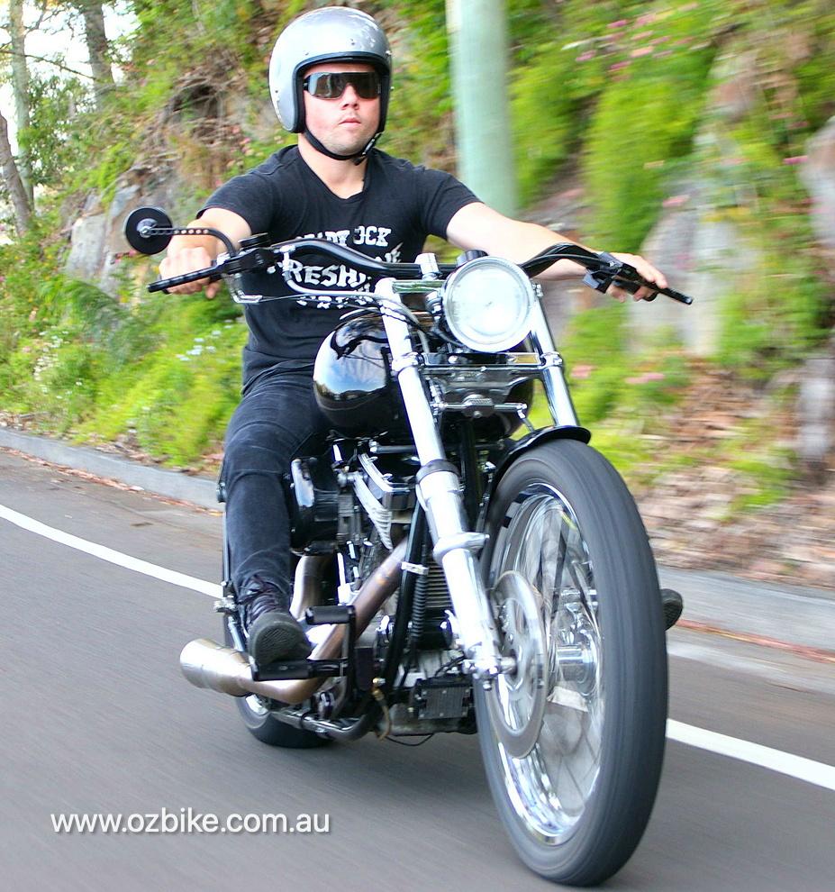 customised Hardtail chopper motorbike