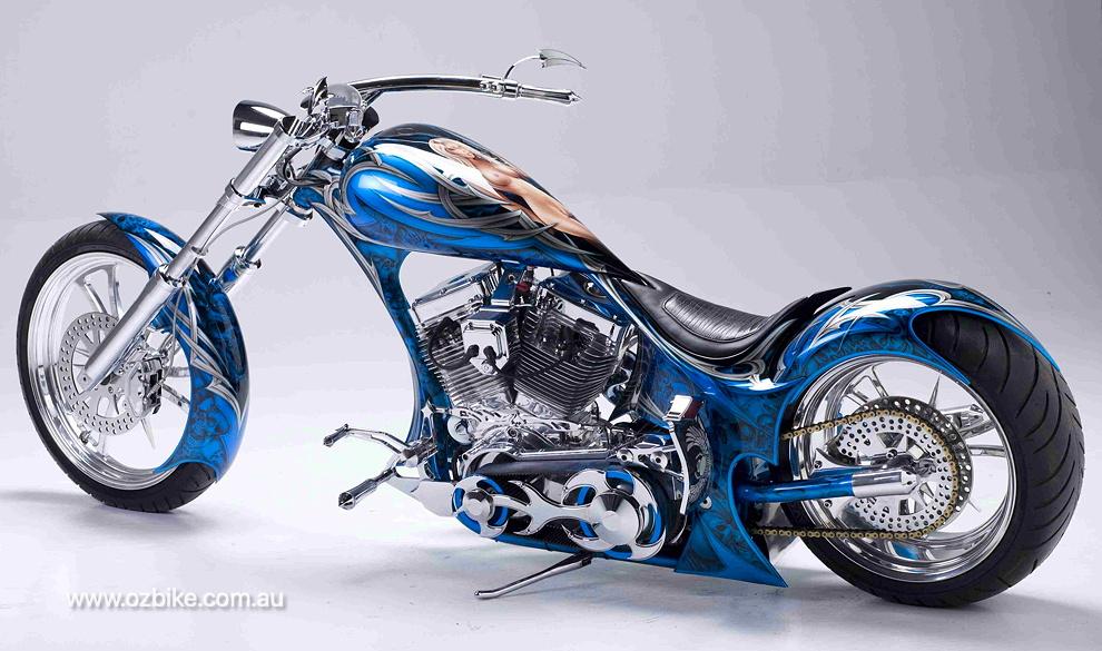airbrushed Harley-Davidson chopper